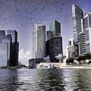 Financial District Of Singapore And View Of The Water In Singapore Art Print