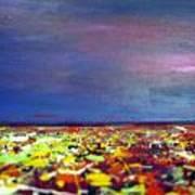 Modern Abstract Painting Original Canvas Art  Sunset By Zee Clark Art Print