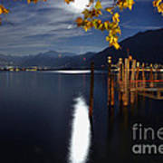 Moon Light Over An Alpine Lake Art Print