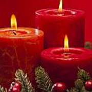 Red Advent Wreath With Candles Art Print