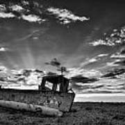 Stunning Black And White Image Of Abandoned Boat On Shingle Beac Art Print by Matthew Gibson
