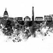 Washington Dc Skyline In Watercolor On White Background Art Print