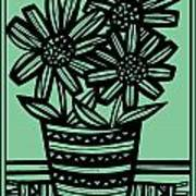 Evocative Flowers Red Blue Green Art Print