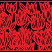 Rottenberg Flowers Red Black Art Print