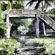 An Old Stone Bridge Over A Canal Art Print