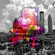 Atlanta Map And Skyline Watercolor Art Print