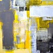 Busy Busy - Grey And Yellow Abstract Art Painting Art Print