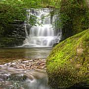 Stunning Waterfall Flowing Over Rocks Through Lush Green Forest  Art Print