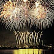 Wa, Seattle, Fireworks On July 4th Art Print
