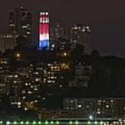 911 Commemorative Lighting On Coit Tower Art Print