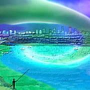 920 - Blue City On The Sea Art Print