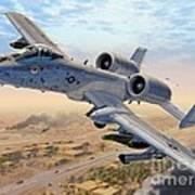 A-10 Over Baghdad Art Print by Stu Shepherd