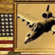 A-10 Warthog Rustic Flag Art Print