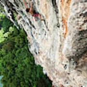 A Athletic Man Rock Climbing High Art Print