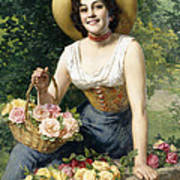A Beauty Holding A Basket Of Roses Art Print