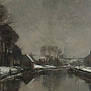 A Belgian Town In Winter Art Print