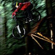 A Biker Rides His Mountain Bike Art Print