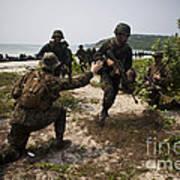 A Bilateral Boat Raid With U.s. Marines Art Print
