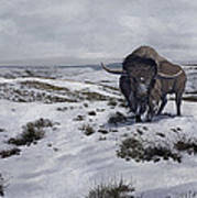 A Bison Latifrons In A Winter Landscape Print by Roman Garcia Mora