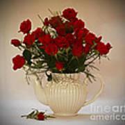 A Bouquet Of Red Rose Tea Art Print