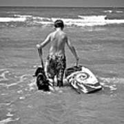 A Boy And His Dog Go Surfing Art Print