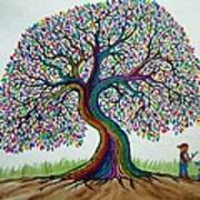 A Boy His Dog And Rainbow Tree Dreams Art Print