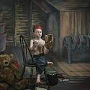A Boy In The Attic With Old Relics Art Print