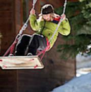A Boy Plays Outside In Lake Tahoe Art Print