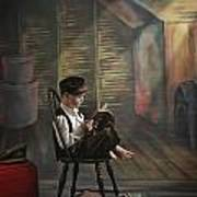 A Boy Posed Reading Old Books Victoria Art Print