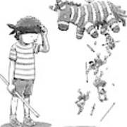 A Boy Watches As The Pinata He Just Hit Drops Art Print