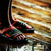 A Boys Wet Feet In Sandals Art Print