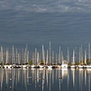 A Break In The Clouds - White Yachts Gray Sky Art Print
