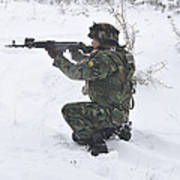 A Bulgarian Soldier Aims Down The Sight Art Print