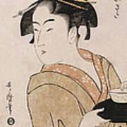 A Bust Portrait Of The Waitress Okita Of The Naniwaya Teahouse Art Print
