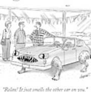 A Car Salesman Shows A Couple A Car Monster Art Print