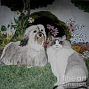 A Cat And A Dog Art Print