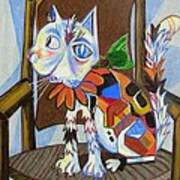 A Cat For Picasso_ Chat Et Souris Art Print