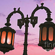 A Characteristic Lamp Post In The City Of Dahab At Dusk Art Print