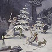 A Cherub Wields An Axe As They Chop Down A Christmas Tree Art Print