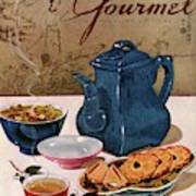 A Chinese Tea Pot With Tea And Cookies Art Print