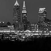 A Cleveland Black And White Night Art Print