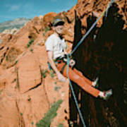 A Climber On Panty Wall In Red Rock Art Print