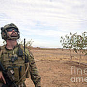 A Coalition Force Member Looks For Air Art Print