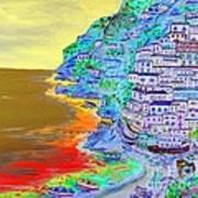 A Coastal View Of Positano Art Print