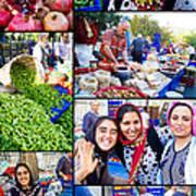 A Collage Of The Fresh Market In Kusadasi Turkey Art Print