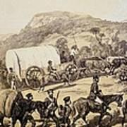 A Convoy Of Wagons Art Print