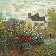 A Corner Of The Garden With Dahlias Art Print