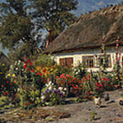A Cottage Garden With Chickens Art Print