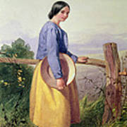 A Country Girl Standing By A Fence Art Print