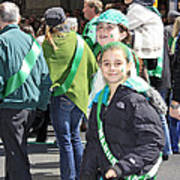 A Couple Girls Enjoying Themselves In The 2009 New York St. Patrick Day Parade Art Print